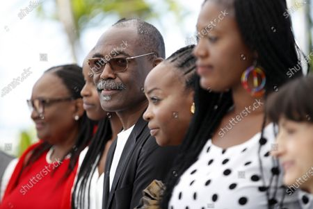Stock Image of Mahamat-Saleh Haroun (3-L) is flanked by members of the cast as they  pose during the photocall for 'Lingui' at the 74th annual Cannes Film Festival, in Cannes, France, 09 July 2021. The movie is presented in the Official Competition of the festival which runs from 06 to 17 July.