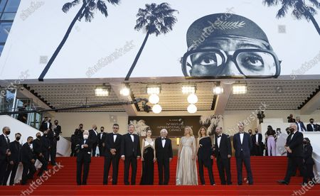 (2L-R) Said Ben Said, Olivier Rabourdin, Daphne Patakia, director Paul Verhoeven, Virginie Efira, Clotilde Courau, David Birke, and Michel Merkt arrive for the screening of 'Benedetta' during the 74th annual Cannes Film Festival, in Cannes, France, 09 July 2021. The movie is presented in the Official Competition of the festival which runs from 06 to 17 July.