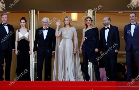Olivier Rabourdin, Daphne Patakia, director Paul Verhoeven, Virginie Efira, Clotilde Courau, David Birke, and Michel Merkt arrive for the screening of 'Benedetta' during the 74th annual Cannes Film Festival, in Cannes, France, 09 July 2021. The movie is presented in the Official Competition of the festival which runs from 06 to 17 July.