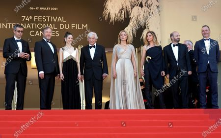 Said Ben Said, Olivier Rabourdin, Daphne Patakia, director Paul Verhoeven, Virginie Efira, Clotilde Courau, David Birke, and Michel Merkt arrive for the screening of 'Benedetta' during the 74th annual Cannes Film Festival, in Cannes, France, 09 July 2021. The movie is presented in the Official Competition of the festival which runs from 06 to 17 July.  E