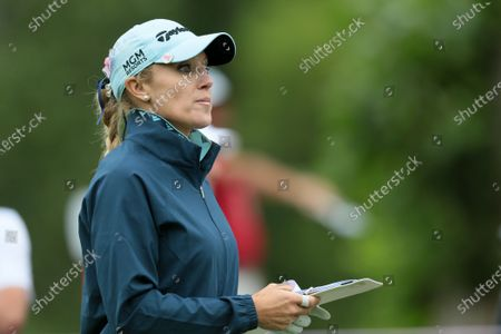 Natalie Gulbis waits on the second tee during the second round of the Marathon LPGA Classic presented by Dana golf tournament at Highland Meadows Golf Club in Sylvania, Ohio USA, on Friday, July 9, 2021.
