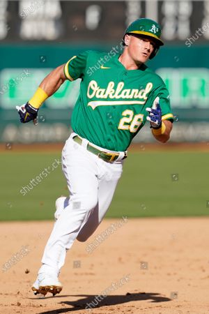 Oakland Athletics' Matt Chapman during a baseball game against the Boston Red Sox in Oakland, Calif
