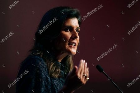 Stock Photo of Former U.S. Ambassador to the United Nations Nikki Haley speaks during the Iowa Republican Party's Lincoln Dinner in West Des Moines, Iowa. Haley endorsed New Jersey GOP gubernatorial candidate Jack Ciattarelli on