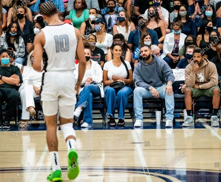 Stock Photo of Drake and reported new girlfriend Johanna Leia mother of Amari Bailey and Michael B. Jordan spotted at Sierra Canyon Trailblazers v Etiwanda Eagle, CIF State Open Division Regional Semifinal, Basketball, Los Angeles, California, USA