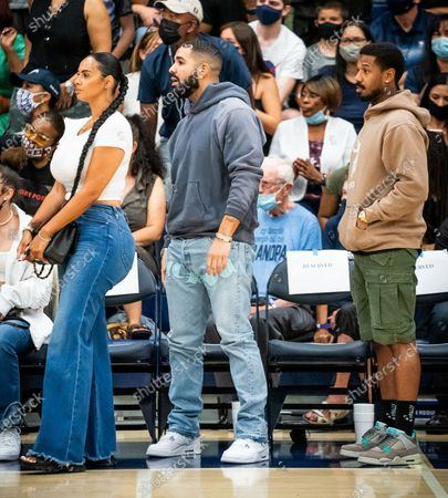 Drake and reported new girlfriend Johanna Leia mother of Amari Bailey and Michael B. Jordan spotted at Sierra Canyon Trailblazers v Etiwanda Eagle, CIF State Open Division Regional Semifinal, Basketball, Los Angeles, California, USA