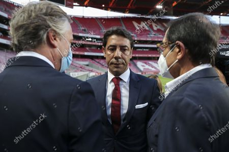 Former Portuguese player Rui Costa (C) is greeted by club officials after being appointed new president of Portuguese soccer club Benfica in Lisbon, Portugal. 09 July 2021. Rui Costa replaced Luis Filipe Vieira, who suspended his duties after he was detained as part of an investigation into alleged tax fraud and money laundering.