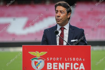 Former Portuguese player Rui Costa speaks during a press conference after being appointed new president of Portuguese soccer club Benfica in Lisbon, Portugal. 09 July 2021. Rui Costa replaced Luis Filipe Vieira, who suspended his duties after he was detained as part of an investigation into alleged tax fraud and money laundering.