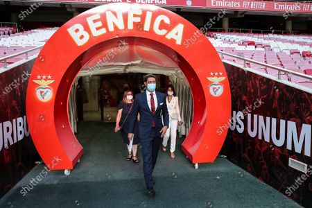 Former Portuguese player Rui Costa (C) arrives for a press conference after being appointed new president of Portuguese soccer club Benfica in Lisbon, Portugal. 09 July 2021. Rui Costa replaced Luis Filipe Vieira, who suspended his duties after he was detained as part of an investigation into alleged tax fraud and money laundering.