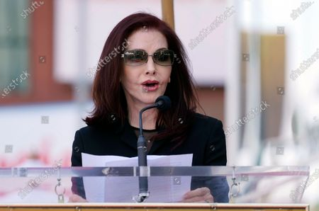 Priscilla Presley speaks at a ceremony honoring television producer Nigel Lythgoe with a star on the Hollywood Walk of Fame, in Los Angeles