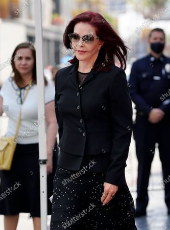 Priscilla Presley appears at a ceremony honoring television producer Nigel Lythgoe with a star on the Hollywood Walk of Fame, in Los Angeles