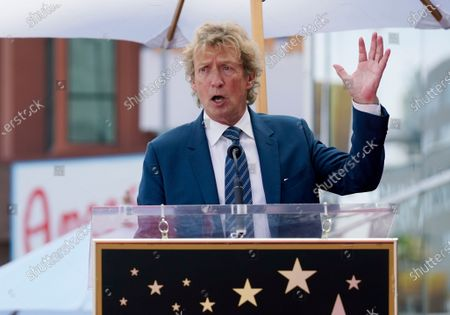 Television producer Nigel Lythgoe addresses the audience at a ceremony honoring him with a star on the Hollywood Walk of Fame on his 72nd birthday, in Los Angeles. The ceremony was initially scheduled for April 1, 2020, but was postponed due to the coronavirus outbreak