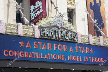 The marquee at the Hollywood Pantages Theatre sends a congratulatory message to television producer Nigel Lythgoe near a ceremony honoring him with a star on the Hollywood Walk of Fame on his 72nd birthday, in Los Angeles. The ceremony was initially scheduled for April 1, 2020, but was postponed due to the coronavirus outbreak