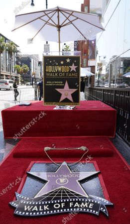 Hollywood Walk of Fame star ceremony layout honoring television producer Nigel Lythgoe is pictured, in Los Angeles