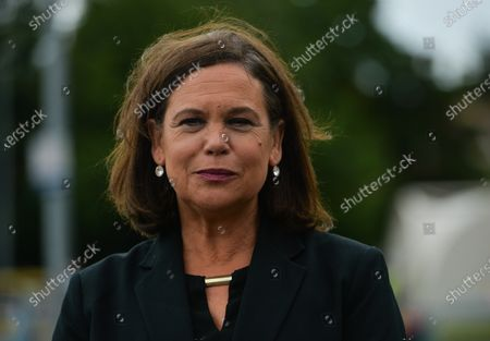 Stock Picture of Sinn Fein leader Mary Lou McDonald speaks to the media just before the announcement of the results after the first count in the Dublin Bay South by-election, Simmonscourt, RDS, and Ballsbridge, Dublin.On Friday, 09 July 2021, in Dublin, Ireland