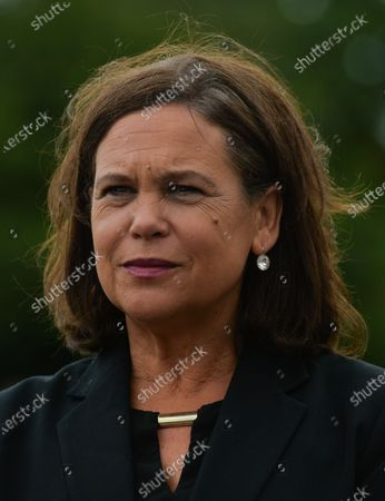 Sinn Fein leader Mary Lou McDonald speaks to the media just before the announcement of the results after the first count in the Dublin Bay South by-election, Simmonscourt, RDS, and Ballsbridge, Dublin.On Friday, 09 July 2021, in Dublin, Ireland