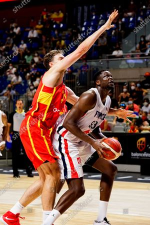 Stock Picture of Pau Gasol (L) of Spain and Moustapha Fall (R) of France seen in action during Spain vs France friendly match of basketball at Palacio de los Deportes Jose Maria Martin Carpena in Malaga prior to Tokyo 2020 Olympic Games. Final Score; Spain 86:77 France