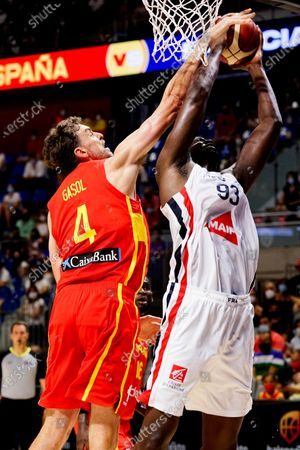 Pau Gasol (L) of Spain and Moustapha Fall (R) of France seen in action during Spain vs France friendly match of basketball at Palacio de los Deportes Jose Maria Martin Carpena in Malaga prior to Tokyo 2020 Olympic Games. Final Score; Spain 86:77 France