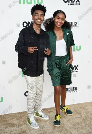 """Miles Brown, left, and Yara Shahidi arrive at the Los Angeles premiere of """"Summer of Soul"""" at The Greek Theatre on"""