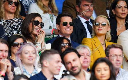Stock Photo of Hayley Atwell, Tom Cruise and Pom Klementieff watching the action on Centre Court during the Ladies' Singles final