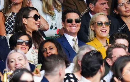 Stock Picture of Hayley Atwell, Tom Cruise and Pom Klementieff watching the action on Centre Court during the Ladies' Singles final