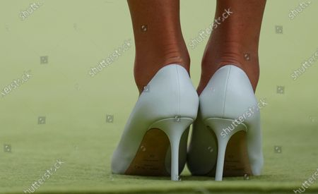 The Duchess of Cambridge wearing Jimmy Choo shoes during the trophy presentation on Centre Court