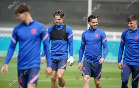 England's John Stones, Jack Grealish, Ben Chilwell and Mason Mount, from left, during a training session at St George's Park, Burton upon Trent, England, ahead of their Euro 2020 soccer championship final match against Italy at Wembley Stadium on Sunday