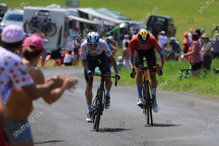 Dutch rider Wouter Poels (R) of the Bahrain Victorious team and Canadian rider Michael Woods (L) of the Israel Start-Up Nation team during the 14th stage of the Tour de France 2021 over 183.7 km from Carcassonne to Quillan, France, 10 July 2021.