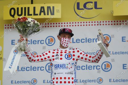 Canadian rider Michael Woods of the Israel Start-Up Nation team celebrates being awarded the Polka Dot Jersey after the 14th stage of the Tour de France 2021 over 183.7 km from Carcassonne to Quillan, France, 10 July 2021.