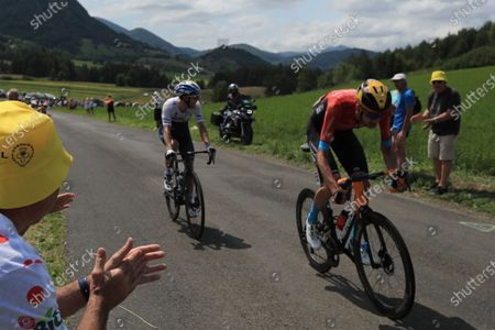 Dutch rider Wouter Poels (R) of the Bahrain Victorious team followed by Canadian rider Michael Woods of the Israel Start-Up Nation team during the 14th stage of the Tour de France 2021 over 183.7 km from Carcassonne to Quillan, France, 10 July 2021.