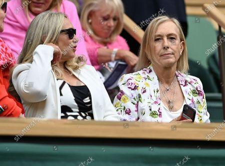 Former tennis player Martina Navratilova (R) during the women's final between Ashleigh Barty of Australia and Karolina Pliskova of Czech Republic at the Wimbledon Championships, Wimbledon, Britain 10 July 2021.