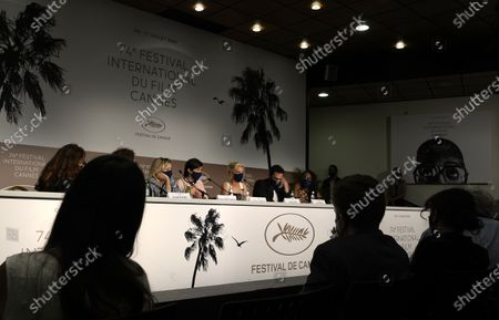 Valeria Bruni Tedeschi, Catherine Corsini, Marina Fois, Pio Marmai, and Aissatou Diallo Sagna attend the press conference for 'La Fracture' at the 74th annual Cannes Film Festival, in Cannes, France, 10 July 2021. The movie is presented in the Official Competition of the festival which runs from 06 to 17 July.