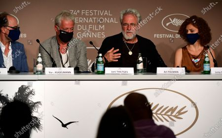 Stock Picture of Journalist Yves Kugelmann, producer Jani Thiltges, director Ari Folman and comic strip writer Lena Guberman attend the press conference for 'Where is Anne Frank' during the 74th annual Cannes Film Festival, in Cannes, France, 10 July 2021. The festival runs from 06 to 17 July.