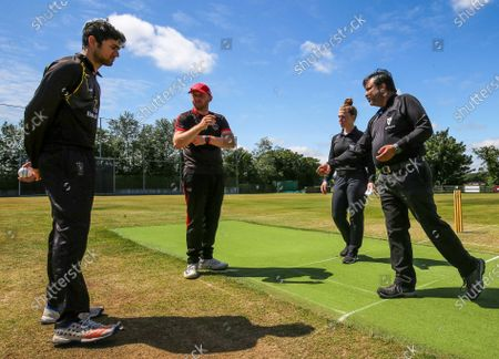 North County vs Trinity. Trinity captain Sanil Gupta, North County captain Eddie Richardson, umpires Mary Waldron and Bala Kailash during the coin toss