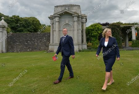 Paul Givan, Northern Ireland's First Minister and Michelle O'Neill, Northern Ireland's Deputy First Minister, pictured after they attended a wreath laying ceremony marking the 105th anniversary of the Battle of the Somme, in the Irish National War Memorial Gardens, at Islandbridge in Dublin.On Saturday, 10 July 2021, in Dublin, Ireland