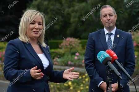 Michelle O'Neill, Northern Ireland's Deputy First Minister, speaks to the media watched by Paul Givan, Northern Ireland's First Minister, after they both attended a wreath laying ceremony marking the 105th anniversary of the Battle of the Somme, in the Irish National War Memorial Gardens, at Islandbridge in Dublin.On Saturday, 10 July 2021, in Dublin, Ireland