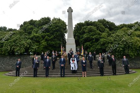Paul Givan, Northern Ireland's First Minister and Michelle O'Neill, Northern Ireland's Deputy First Minister, pictured with other participants of the ceremony marking the 105th anniversary of the Battle of the Somme, in the Irish National War Memorial Gardens, at Islandbridge in Dublin.On Saturday, 10 July 2021, in Dublin, Ireland