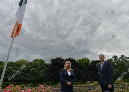 Paul Givan, Northern Ireland's First Minister and Michelle O'Neill, Northern Ireland's Deputy First Minister, pose for a photo after they attended a wreath laying ceremony marking the 105th anniversary of the Battle of the Somme, in the Irish National War Memorial Gardens, at Islandbridge in Dublin.On Saturday, 10 July 2021, in Dublin, Ireland