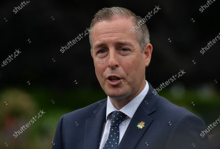 Paul Givan, Northern Ireland's First Minister speaks to the media after he attended with Michelle O'Neill, Northern Ireland's Deputy First Minister, a wreath laying ceremony marking the 105th anniversary of the Battle of the Somme, in the Irish National War Memorial Gardens, at Islandbridge in Dublin.On Saturday, 10 July 2021, in Dublin, Ireland