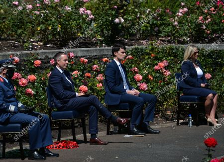 Paul Givan (second left), Northern Ireland's First Minister and Michelle O'Neill (right), Northern Ireland's Deputy First Minister, attended a wreath laying ceremony marking the 105th anniversary of the Battle of the Somme, in the Irish National War Memorial Gardens, at Islandbridge in Dublin.On Saturday, 10 July 2021, in Dublin, Ireland