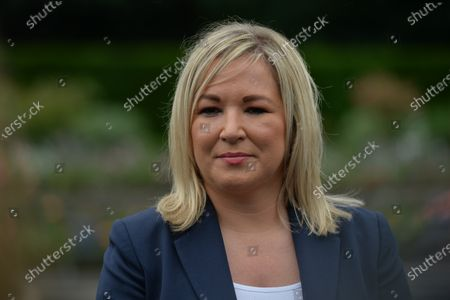 Michelle O'Neill, Northern Ireland's Deputy First Minister, speaks to the media after she attended with Paul Givan, Northern Ireland's First Minister, a wreath laying ceremony marking the 105th anniversary of the Battle of the Somme, in the Irish National War Memorial Gardens, at Islandbridge in Dublin.On Saturday, 10 July 2021, in Dublin, Ireland