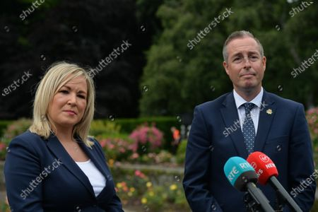 Michelle O'Neill, Northern Ireland's Deputy First Minister, and Paul Givan, Northern Ireland's First Minister, speak to the media after they both attended a wreath laying ceremony marking the 105th anniversary of the Battle of the Somme, in the Irish National War Memorial Gardens, at Islandbridge in Dublin.On Saturday, 10 July 2021, in Dublin, Ireland