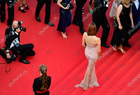 Maeva Coucke arrives for the screening of 'De Son Vivant' (Peaceful) during the 74th annual Cannes Film Festival, in Cannes, France, 10 July 2021. The movie is presented Out of Competition at the festival which runs from 06 to 17 July.