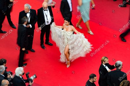Nichapat Suphap (C) arrives for the screening of 'De Son Vivant' (Peaceful) during the 74th annual Cannes Film Festival, in Cannes, France, 10 July 2021. The movie is presented Out of Competition at the festival which runs from 06 to 17 July.