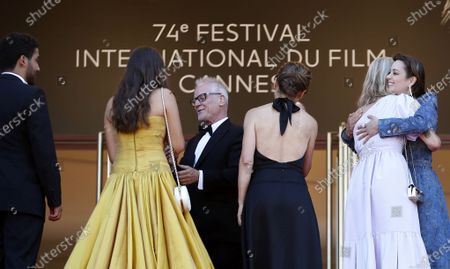 Mohamad Aljounde, Melati Wijsen, Cannes Film Festival General Delegate Thierry Fremaux, Flore Vasseur, Mary Finn and Marion Cotillard attend the screening of 'De Son Vivant' (Peaceful) during the 74th annual Cannes Film Festival, in Cannes, France, 10 July 2021. The movie is presented Out of Competition at the festival which runs from 06 to 17 July.