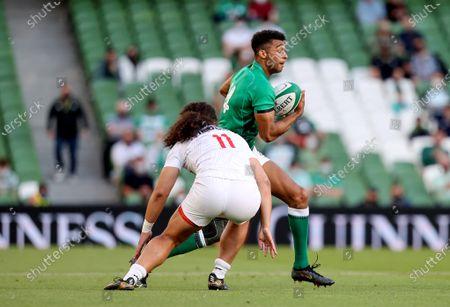 Ireland vs USA. USA's Mika Kruse and Robert Baloucoune of Ireland