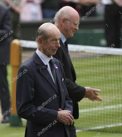 Prince Edward, the Duke of Kent walks on the court at the end of the women's singles on day twelve of the Wimbledon Tennis Championships in London