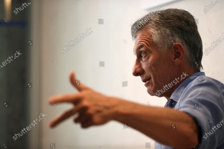 Former president of Argentina Mauricio Macri speaks during an interview to International News Agency EFE held in Madrid, Spain, 10 July 2021. Macri denied sending 'lethal' munition to Bolivia to suppress the demonstrations against the government of the president Evo Morales in November 2019 and denounced a 'persecution' from current Argentinian government against him and his family.