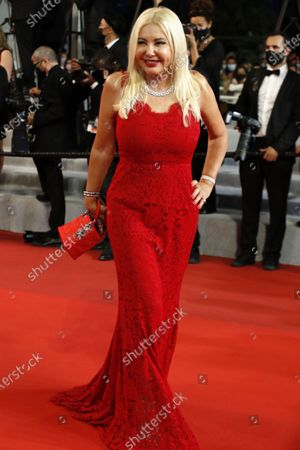 Monika Bacardi arrives for the screening of 'Flag Day' during the 74th annual Cannes Film Festival, in Cannes, France, 10 July 2021. The movie is presented in the Official Competition of the festival which runs from 06 to 17 July.
