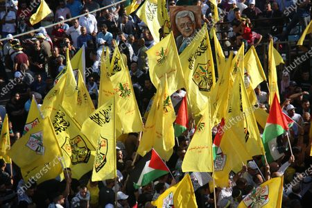 Editorial photo of Palestinian supporters of Fatah rally in support of president Mahmud Abbas, Ramallah, West Bank, Palestinian Territory - 10 Jul 2021