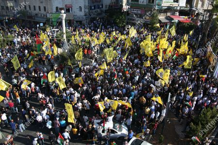Editorial picture of Palestinian supporters of Fatah rally in support of president Mahmud Abbas, Ramallah, West Bank, Palestinian Territory - 10 Jul 2021